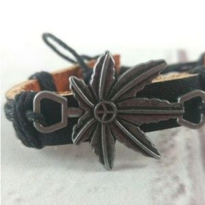 Jewelry - Leather Cuff With Hemp Leaf/Peace Sign Charm
